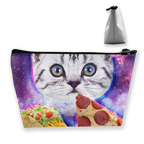 Makeup Bag Cosmetic Bag Travel Make Up Pouch Toiletry Case with Zippered Pocket for Women and Girls Funny Galaxy Taco Cat Pizza
