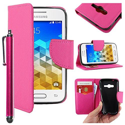 ebestStar - Compatibile Cover Samsung Galaxy Trend 2 Lite SM-G318H, Galaxy V Plus Custodia Portafoglio Pelle PU Protezione Libro Flip + Penna, Rosa [Apparecchio: 121.4 x 62.9 x 10.7mm, 4.0'']