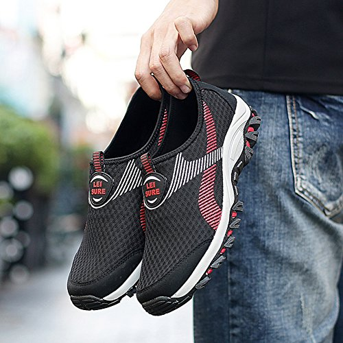 GARNIER Hommes Chaussures décontractées Chaussures à couper le souffle Jogging Trainers Gym Sports Running Sneakers Black Red