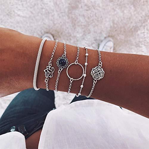 ,Retro weiblichen Lotus Perle rund Edelstein Kette hohlen Multilayer Silber Armband Set Exquisite Partei Kleidung Schmuck ()
