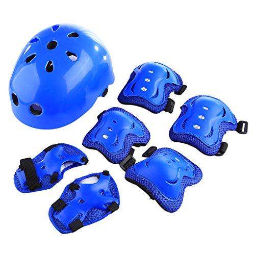 Casco bici bimbo, lommer 54-58cm casco kit protettivo casco helmet caschi con protezione kit(gomitiere + ginocchiere + protezione polso) per bambino per bici sci skateboard snowboard scooter pattinaggio pattini (blu)