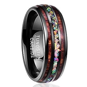 Nuncad Ring Damen/Herren mit Opal und Koaholz zum Mosaik schwarz 8mm, Ring Unisex Wolfram für Trauung, Verlobung, Hochzeit, Lifestyle und Fashion, Größe 54 bis 67 (14-27)