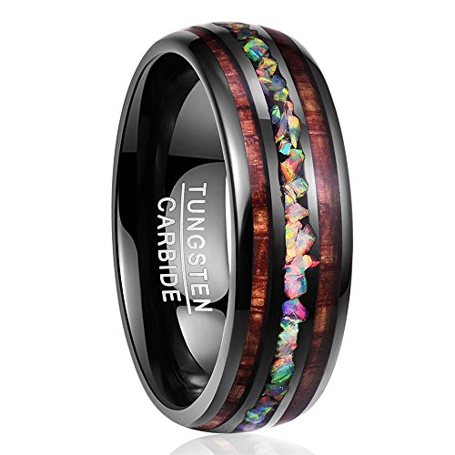 Nuncad Ring Wolfram Damen/Herren 8mm schwarz mit Opal und Koaholz, Ring Unisex für Hochzeit, Jahrestag, Geburtstag, Partnerschaft und Hobby, Größe 65