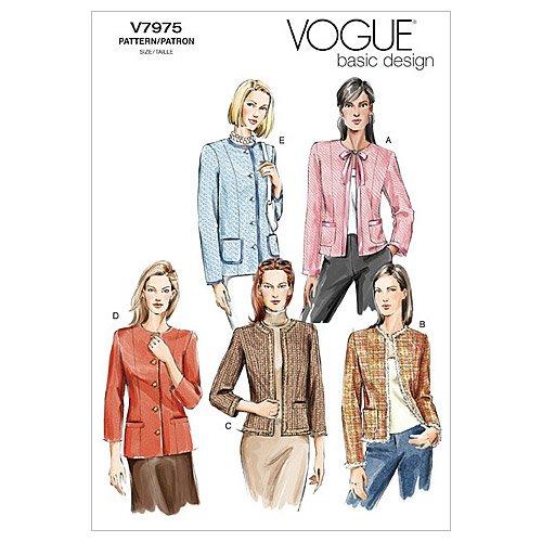 Vogue Patterns Misses « / Rate » Petite Veste - modèle FW (18-20 - 22)