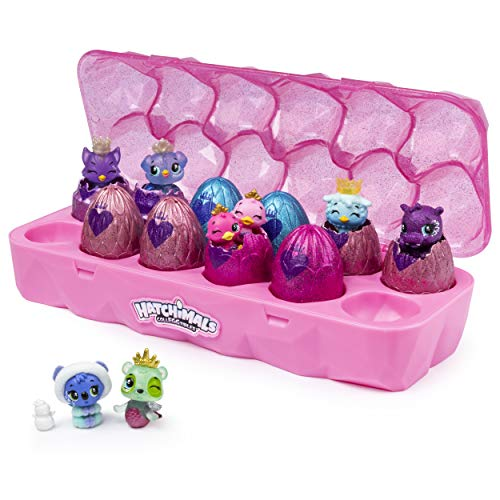 Hatchimals 6047215 - CollEGGtibles Schmuckkästchen, 12-er Pack Eierkarton, Geheimfach, in jedem Ei steckt Zubehör