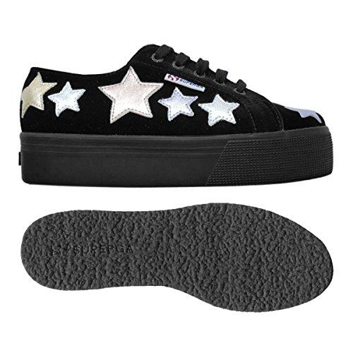 Superga - Women Shoes - 2790-velvetcotmetw - Black-Multi - 41: EU 41...