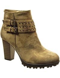 Angkorly - Zapatillas de Moda Botines botas militares mujer tachonado Hebilla Talón Tacón ancho alto 8.5 CM - plantilla Forrada de Piel - Caqui
