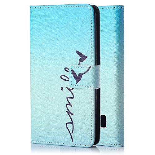 tinxi® Kunstleder Tasche für Huawei Ascend Y635 Tasche Schutz Hülle Schale Etui Case Cover Standfunktion mit Karten Slot smile in blau