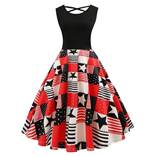 TWIFER Mode Damen Kleider Sleeveless Vintage Rundhals Abendkleider -