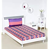 Amazon Brand - Solimo Mural Stripes 144 TC 100% Cotton Single Bedsheet with 1 Pillow Covers, Violet and Pink