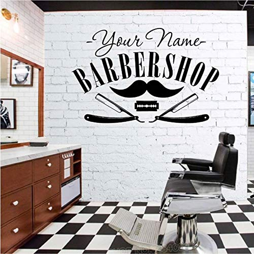 Friseursalon Aufkleber Decal Hair Gentleman Poster Rasur Wandkunst Aufkleber Barber Shop Parede Decor Benutzerdefinierte Name Stick 42X64CM -