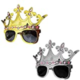 BOXO King And Queen Party Sunglasses With Crown For Men And Women, 15 Grams, Pack Of 1