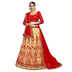 WomenS Beige Color Embroidered Lehenga ASBLA181