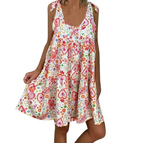 Ziyou Frauen Damen lose Blumendruck ärmellose Bandage minikleid Sommerkleid(rot,3XL) -