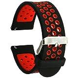 Elespoto Smart Watch Cinturino 22MM Braccialetto per Samsung Galaxy Gear 2 R380 Neo R381 Live R382 / MOTO 360 2nd/Pebble Time/LG G Watch W100/W110/Urbane (Black Red)