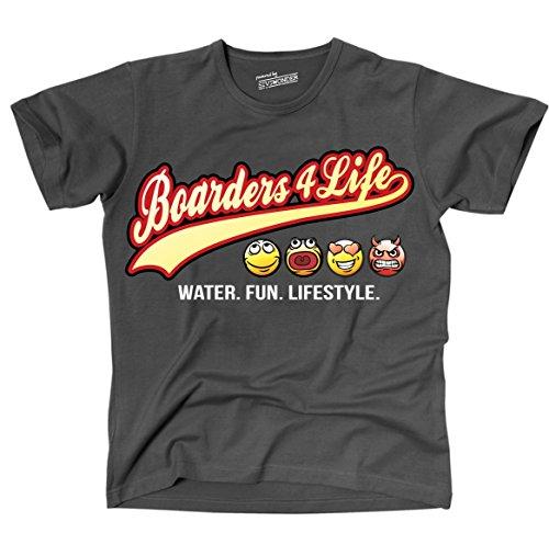 Siviwonder Unisex T-Shirt BOARDERS 4 LIFE - OLD SCHOOL SCHRIFT WATER FUN LIFESTYLE Wakeboard Dark Grey