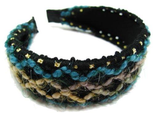 rougecaramel - accessoires cheveux - Serre tête/headband large laine tricoté - bleu