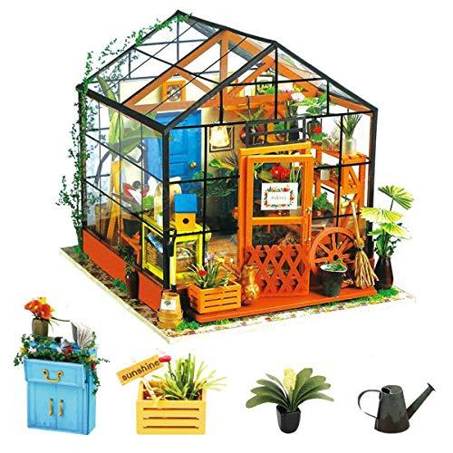 Rolife Miniatur DIY Puppenhaus Küche Kits mit Licht DIY Holz Mini Haus  Modell Erwachsene-Kinder 14 15 16 17 18 Jahre Alt (Cathy's Flower House)