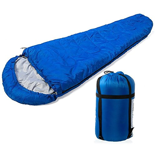 FiNeWaY NEW MUMMY SHAPE WARM SINGLE SLEEPING BAG FOR CAMPING CARAVAN AND TRAVEL W BAG