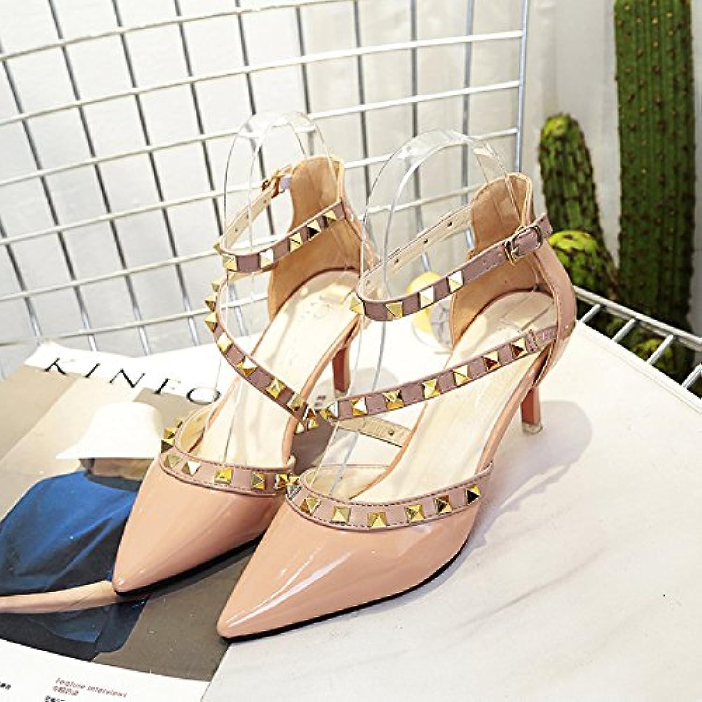 Remache punta fina con sandalias Zapatos de correa, Rosa 36