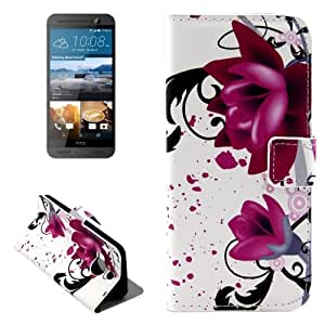 Crazy4Gadget Flower Pattern Leather Case with Holder & Card Slots & Wallet for HTC One M9+