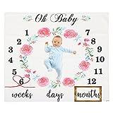 Funnytree 100 x 100 cm Mikrofaser Monatshintergrund, Schlichtes Zifferblatt, schwarzes Schriftbild, weißer Meilenstein-Hintergrund für Neugeborene und Baby-Fotografie