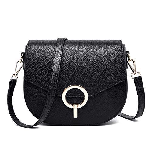 Damen Satteltasche Herbst und Winter Vintage Round Buckle Bag Leder kleine runde Umhängetasche. (Color : B)