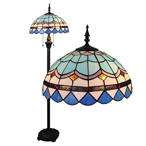 Gweat Tiffany 16-Zoll-Mittelmeer europäische Hirtenart-eleganten Luxus kreative Handarbeit Glasmalerei Tiffany Stehlampe - Blau -