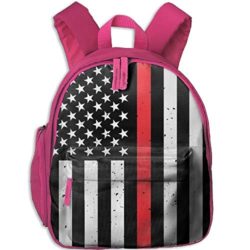 a7db967fdd6 Lovely Schoolbag Firefighter Red Line Flag Double Zipper Closure Waterproof  Children Schoolbag Backpacks with Front Pockets