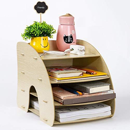 Organizer da scrivania fai da te, in legno, con 4 ripiani, per ufficio, famiglie, collezioni di taccuini, libri e riviste Holzmaserung
