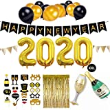 SicurezzaPrima Silvester Deko 2020 Party Set XXL - 44-teilig - Neujahr Silvesterdeko - Girlanden, XXL Mega Ballons, Pompoms, Foto, Fotorequisiten, Dekoration - schwarz, Gold