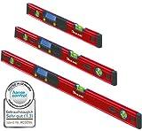 Kaleas Digitale Wasserwaage 3er Set 40cm/70cm/100cm mit 3-fach Libellen, integrierten Magneten und Schutz-Tasche (34190.K1)