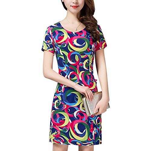 Damen Sommerkleider Bedruckt Ausgestellt Swing Kleid Damen Kurze Ärmel Franki Skaterkleid Plus Größe Farbe 5
