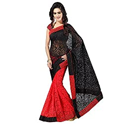 Aruna Sarees WomenS Brasso & Net Saree (Arns_1,Red Black ,Free Size)