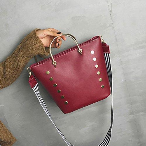 Messaggero In Pelle Artificiale, Fashion Party Donne Rivetto Diagonale Pacchetto Crossbody Spalla Messenger Borse di Kangrunmy Rosso