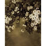 A.Monamour Vintage Mottled Floral Flower Print 5x7ft Fabric Vinyl Photography Backgrounds Vintage Dark Gray Floral Backdrops