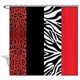CafePress–rojo decorativo, diseño de leopardo y cebra Animal Tela cortina de ducha
