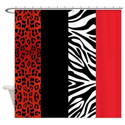 Dekorative rote Leopard und Zebra Animal Print Stoff Vorhang für die Dusche, Textil, mehrfarbig, 60x72 (Dusche Zebra-print Vorhang-set)