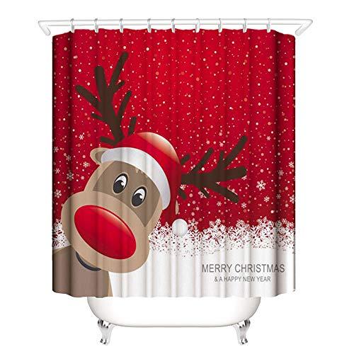 laamei Cortina de Ducha, 3D Digital Impresión Feliz Navidad Tema Cortina de Baño de Poliéster Impermeable Resistente al Moho Fiesta Decorativo Cortinas Dibujo Animado con Ganchos 180cmx180cm