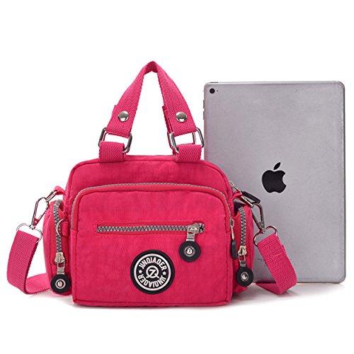 Tiny Chou Mini Solid Color, in Nylon impermeabile, Borsetta a tracolla per bambine & donna Rosso (rosso)