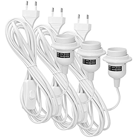 kwmobile 3x porte-lampe E27 avec anneau fileté et cordon d'alimentation avec interrupteur - Support de lampe et câble, 3,5m en blanc
