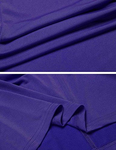 Keelied Damen V-Ausschnitt Nachthemd Kurzarm Schlafkleid Einfarbig Nachtkleid Basic Sleepshirt Unregelmäßige Nachtwäsche Violett