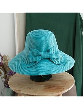 LVLIDAN Sombrero para el sol del verano Lady Anti-Sol Playa sombrero de paja plegable azul cielo