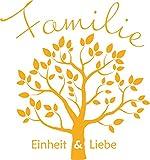 GRAZDesign 300165_50_WT020 Wandtattoo Familie mit Baum für Wohnzimmer | Wandspruch für Deine Familie | Sprüche Einheit und Liebe Baum Blätter | Selbstklebende Folie (53x50cm//020 Goldgelb)