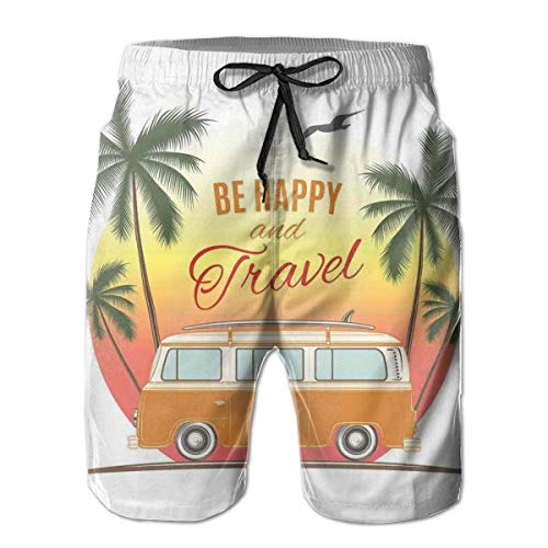 MIOMIOK Mens Beach Shorts Swim Trunks,Retro Surf Van with Palms Camping Relax Hippie Travel Be Happy Free 60s Theme,Summer Cool Quick Dry Board Shorts Bathing Suit XL