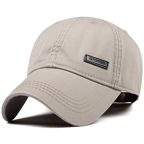 CACUSS Herren Baumwolle Klassischer Baseball Kappe Adjustable Buckle Closure-Vati-Hut Sport-Golf-Kappe einheitsgröße b0080_khaki