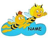 Unbekannt XL - Türschild / Wandbild / Wandtattoo - die Biene Maja und Willi auf Wolke incl. Namen - aus Holz - selbstklebend - Kinderzimmer Deko Bilder / Aufkleber Wandsticker Wanddeko