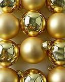 12-er Set goldene hochwertige Christbaumkugeln aus Glas im Mix - GOLD matt und glanz - 6 cm