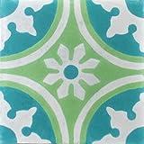 1e Zementfliese orientalische Fliese Zagora Wand und Boden Fliese Muster Radia (Radia 1531 grün grau)
