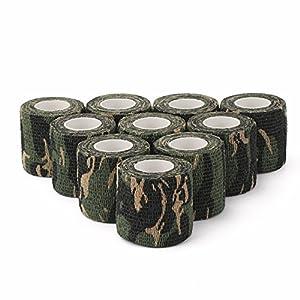 DROK reg; 10 rouleaux 5cm x 4.5m adhésif autocollant bande de camouflage en bois camouflage Camo Forme multi-fonctionnel non-tissé tissu ruban adhésif ruban adhésif pour chasse militaire en plein air